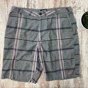 VANS Gray & Pink Plaid Chambray Shorts 34 EUC